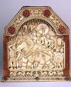 Chest, detail (ivory, gold, rubies, sapphires; height 18 cm), Kotte, Ceylon (Sri Lanka), around 1543. The chest was made at the court of the king of Kotte in Ceylon (now Sri Lanka) and was taken as a gift to Portugal, which had conquered parts of the island earlier in the sixteenth century.