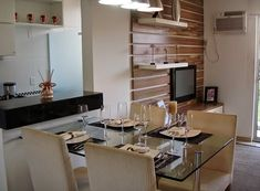 Decor Salteado - Blog de Decoração | Arquitetura | Construção | Paisagismo: Mesas encostadas em paredes e bancadas – otimize o espaço de sua casa!