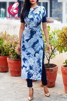 Blue & White Linen Floral Print Kurti with Navy Blue Cotton Silk Kurti Set Printed Kurti Designs, New Kurti Designs, Kurta Designs Women, Salwar Suit Neck Designs, Kurta Neck Design, Velvet Dress Designs, Cute Couples Photography, Kurta Style, White Kurta