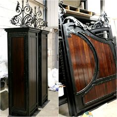 The day of March in  is abit gloomy, painting these beautiful matching gate and columns inside today! Steel Gate Design, Iron Gate Design, House Gate Design, Main Door Design, Entrance Design, Entrance Gates, Metal Gates, Wrought Iron Doors, Wooden Gates