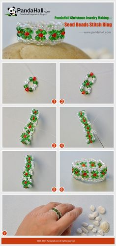 Seed Beads Stitch Ring - Do you wanna learn to make some jewelry crafts for the coming Christmas? Then you should be interested in this seed beads stitch ring tutorial. Diy Beaded Rings, Diy Rings, Beading Patterns Free, Beaded Bracelet Patterns, Jewelry Making Tutorials, Beading Tutorials, Seed Bead Bracelets, Seed Beads, Bead Crafts