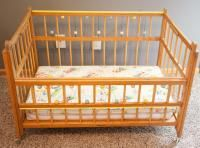 Vintage 1960s Portable Baby Bed Crib Wood Fold Down Side Beads Mattresses  WOW