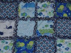 Baby Rag Quilt  Studio E Deep Deep Sea by SimplySusies on Etsy