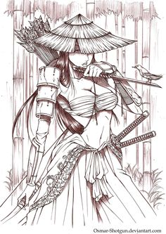 Anime Samurai Drawings | Samurai Girl by Osmar-Shotgun