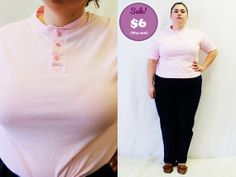 CLEARANCE  Plus Size  Vintage Pastel Pink Henley by TheCurvyElle, $6.00