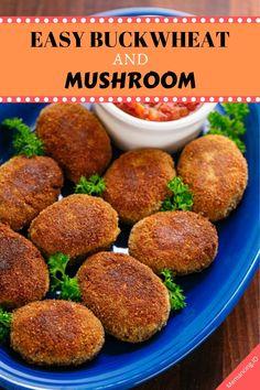 Easy Buckwheat and Mushroom Croquettes Recipe - Taste Croquettes Recipe, Unique Recipes, Ethnic Recipes, Avocado Ranch, Stuffed Mushrooms, Stuffed Peppers, Marinara Sauce, Buckwheat, Mushroom Recipes