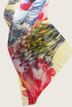 "Image of ""Wild sea flowers"" hand-painted silk scarf by Asta Masiulyte"