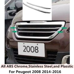 For Peugeot 2008 2014 2015 2016 car body styling cover protect detector ABS chrome trim Front up Grid Grill Grille Around 2pcs #Affiliate