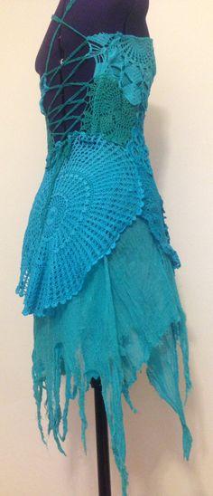Ozean Meerjungfrauen Häkelkleid Minikleid für kleine von Feenglut