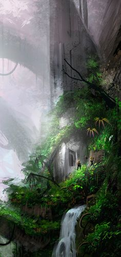 Find images and videos about landscape, fantasy and Scenery on We Heart It - the app to get lost in what you love. Concept Art Landscape, Fantasy Landscape, Landscape Art, Fantasy Places, Sci Fi Fantasy, Fantasy World, Fantasy Setting, Wow Art, Environment Design