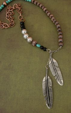 Gypsy Soule® Silver Feather Charms with Copper, Turquoise, Black & Silver Beads Necklace