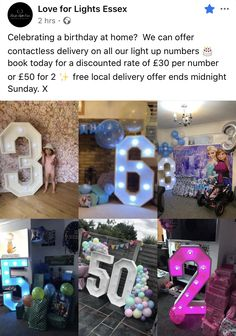 Celebrating a birthday at home? We can offer contactless delivery on all our light up numbers 🎂 book today for a discounted rate of per number or for 2 ✨ free local delivery offer ends midnight Sunday. Baby Showers, Light Up, Numbers, Delivery, Sunday, Canning, Celebrities, Book, Birthday