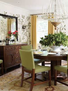 California Eclectic Gets A Traditional Twist Round Dining Tableand Those Great Stenciled