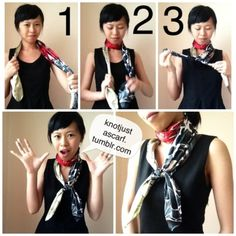 Put the scarf so it rests behind your neck, take the right end and wrap it around your neck once and then tie the ends into a low knot. Great if the scarf has a particularly long diagonal or a design. Vintage Fashion 1950s, Victorian Fashion, Vintage Hats, Woven Scarves, Neck Scarves, Scarf Tying Tutorial, Side Curls, Scarf Knots, Christian Dior Couture