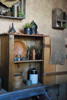 Primitive Kitchen by A Storybook Life Primitive Living Room, Primitive Homes, Primitive Kitchen, Primitive Furniture, Primitive Antiques, Primitive Crafts, Primitive Christmas, Country Primitive, Country Kitchen