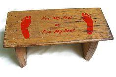 Vintage Wooden Footprint Step Stool Nash Texas by MoonulaVintage