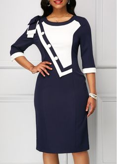 Navy Bowknot Shoulder Zipper Back Sheath Dress on sale only US$33.08 now, buy cheap Navy Bowknot Shoulder Zipper Back Sheath Dress at Rosewe.com