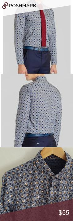 a0367fd47 Ted Baker Gabez Octagonal Print Button Down Excellent, nearly new  condition. Blue with orange