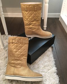 Chanel $950 Beige Quilted Moto Leather Flat Knee Pull On 37 Gold Boots. Get the must-have boots of this season! These Chanel $950 Beige Quilted Moto Leather Flat Knee Pull On 37 Gold Boots are a top 10 member favorite on Tradesy. Save on yours before they're sold out!