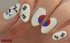 White Nails and Artistic Nail Styles 1 Trendy Nail Art, Cute Nail Art, Easy Nail Art, Army Nails, Flag Nails, Korean Nail Art, Korean Nails, Uñas Sailor Moon, Nail Manicure