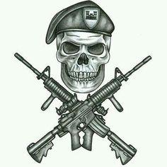 Military Tattoos on Army Infidil Tattoo Design Tattoowoo Com skull guns tattoo flash art ~A. Skull Tattoo Design, Skull Tattoos, Body Art Tattoos, Tattoo Designs, Gun Tattoos, Warrior Tattoos, Tattoo Ink, Tattos, Sleeve Tattoos