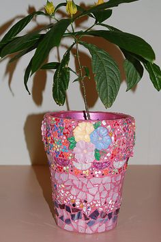 Beautiful Mosaic Flower Pot Spring Flowers. Pink