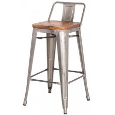 Metroline Low Back Metal Counter Stool With Wood Seat In