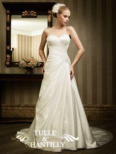 Elegant A-Line Beaded Embellishment Pleated Satin Wedding Gown TBQW023