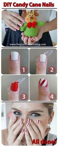 Candy Cane Nails Tutorial - via @Marie McGrath