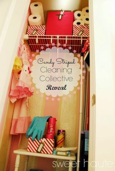 Candy Cabana Stripe Cleaning Collective closet reveal before and after re do with a dash of Hello Kitty- Organized and PINK!- SWEET HAUTE