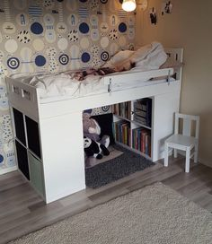 IKEA bookcase bunk bed It is stronger than finished products - Children s room ideas Small Room Bedroom, Girls Bedroom, Bedroom Decor, Bedrooms, Bedroom Furniture, Bedroom Ideas, Ikea Bookcase, Dorm Room Shelves, Bookshelf Bed