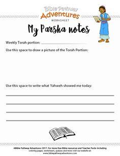 My Parsha Notes worksheet | Help kids remember the weekly Torah Portion. :-)