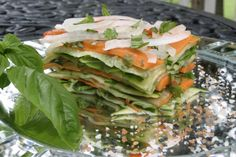 Stunning Salad, I have to make this to bring to the picnic! Stacked Summer Vegetable Salad Low Calorie, Low Fat Healthy Recipe
