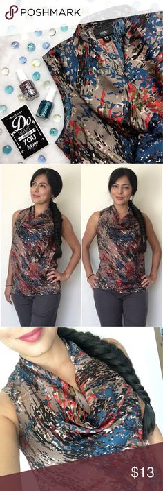 Mossimo Sleeveless Top Fun paint splatter print top. EUC!! Fits me tight now. Size is XS. Has slight cowl neckline. Can wear with black, blue or gray slacks  and pair with different colored cardigans as well. Endless options with this lil top!!  100% polyester, does not stretch. Mossimo Supply Co Tops Blouses