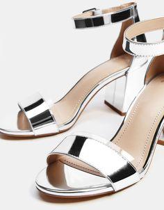 91ce02095563 Metallic vinyl high heel sandals - Bershka  fashion  product  shoes  sandals