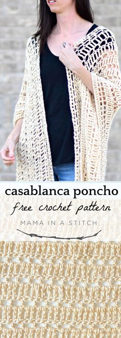 Crochet Shawl Casablanca Summer Poncho Crochet Pattern via Such an easy, pretty pattern that can be used to make a swimsuit cover-up or just a summer top! Free pattern with pictures on how to assemble the poncho as well! Cardigan Au Crochet, Gilet Crochet, Crochet Poncho Patterns, Crochet Motifs, Crochet Jacket, Crochet Scarves, Crochet Shawl, Crochet Clothes, Crochet Stitches