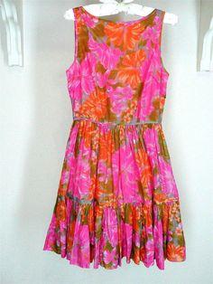 TRACY FEITH Target Floral Dress Sz 3 Junior Pink Orange Sleeveless Retro Ruffle #TracyFeith #Sundress #Casual
