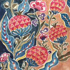 """regran from @jackie.zhu -  Sketch on pomegranate pattern. I had lots of fun of drawing it. But I'm debating if the color is  too much """"fun"""" for home interior.  #too #much #fun #textile #design #pomegranate #pattern #patterndesign #painting #iznik #interior #decoration #painting #jackiezhuart #interiordesign #background #pop #sketch #needs #calm #color #homedeco #decoration #deco #fabric #wip  #surfacespatterns"""