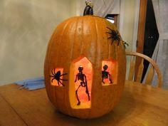 My pumpkin house for skeletons on Halloween - pumpkin carving