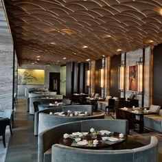 restaurant design Elegantly designed ceiling system by Hirsch Bedner Associates - Westin Ningbo - STARWOOD Restaurant Design, Restaurant Seating, Restaurant Lounge, Luxury Restaurant, Bar Interior, Modern Interior Design, Interior Design Inspiration, Interior Architecture, Luxury Interior