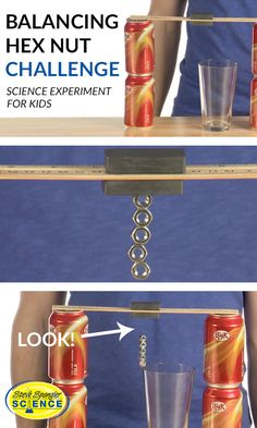 A little magnetism helps you balance a wobbly tower of hex nuts on the narrow rim of a glass. Try this science experiment for yourself by clicking the image.