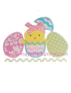 3 Eggs and Chick Applique Machine Embroidery Design