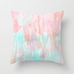 Pastel Throw Pillow Cover Abstract Modern Print Pink, Peach, Aqua, Mint Green Home Decor Living room bedroom accessories Cushion