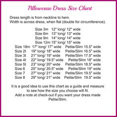 * Please see Shop Announcement for Current Turnaround * This pillowcase dress is handmade in a smoke-free home, has serged seams for quality and durability and lined armhole openings for a neat appearance.  Please measure to ensure correct size is chosen. SIZE CHART can be viewed in pictures above and on my Policies Page.  Dress will be made after purchase: 12 size 3m 13 size 6m 14 size 9m 15 size 12m 17 size 18m 19 size 24m/2t 21 size 3t 22 size 4t 23 size 5t 25 size 6 27 size 7 29 size...