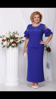 """Ninele dress, cornflower blue (model - Belarusian knitwear in the online store """"Sewing Tradition"""" African Fashion Dresses, African Dress, Mom Dress, Lace Dress, Plus Size Gowns, Mothers Dresses, Special Occasion Dresses, Dress Patterns, Designer Dresses"""