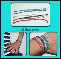 braccialetti primavera estate 2012  realizzati con cotone cerato e perline.  handmade dye ile roby bijoux