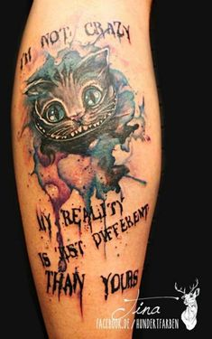 Ideas For Disney Tattoo Ideen Grinsekatze Foot Tattoos, Body Art Tattoos, Small Tattoos, Tatoos, Disney Sleeve Tattoos, Tattoo Disney, Disney Tattoos Thigh, Cheshire Cat Tattoo, Tattoo Cat