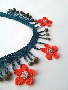 Handmade crocheted necklace decorated with cute crochet flowers and natural stones. All of the necklaces will be prepared with utmost care and sent in bubble envelopes. Measurement Total Length 43 cm / 16,9 inches ***Ready to ship!*** PS: Please note that light effect,