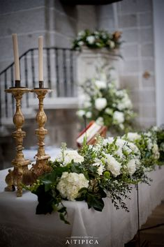 Flowers arranged and designed for a Spanish wedding created by A-Tipica Church Wedding Flowers, Church Wedding Decorations, Wedding Altars, Altar Decorations, Flower Decorations, Wedding Bouquets, Decor Wedding, Vintage Centerpieces, Spanish Wedding