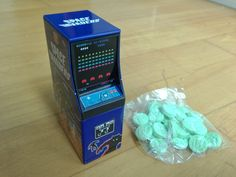 Mini arcade machine with Space Invaders sweets